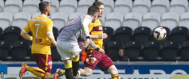 Stephen Mallan scores for St Mirren against Motherwell