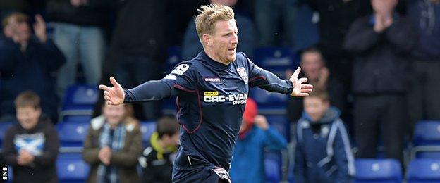 Ross County forward Michael Gardyne celebrates after scoring against Hamilton