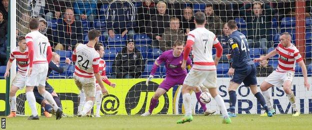 Liam Boyce scores for Ross County against Hamilton Academical