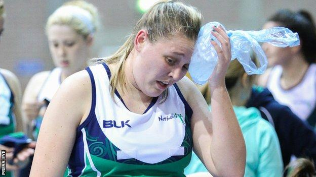 Northern Ireland's Deborah McCarthy at the end of the team's match with guest nation Trinidad & Tobago at the European Netball Open Championships