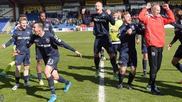 Ross County players celebrating
