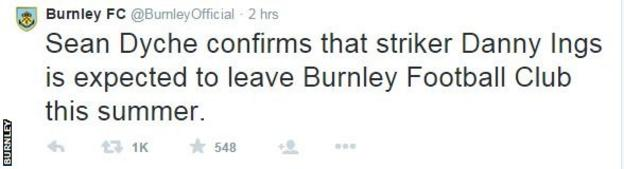 Burnley's Twitter confirms Ings exit