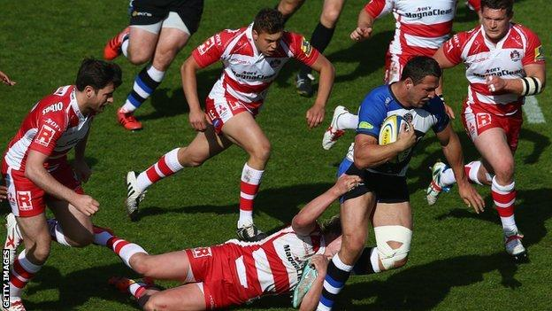 Sam Burgess bursts through for Bath against Gloucester