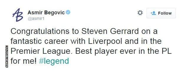 Asmir Begovic tweet