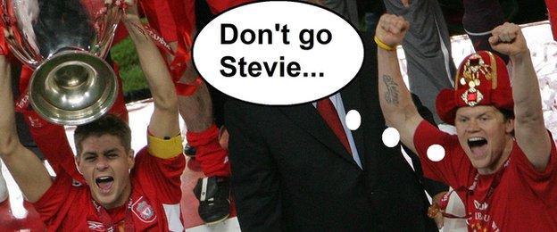 Steven Gerrard and John Arne Riise celebrate