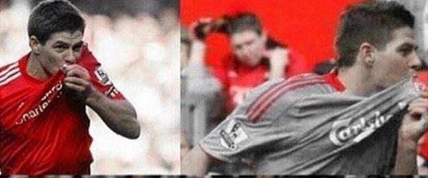 Steven Gerrard in badge-kissing celebration mode