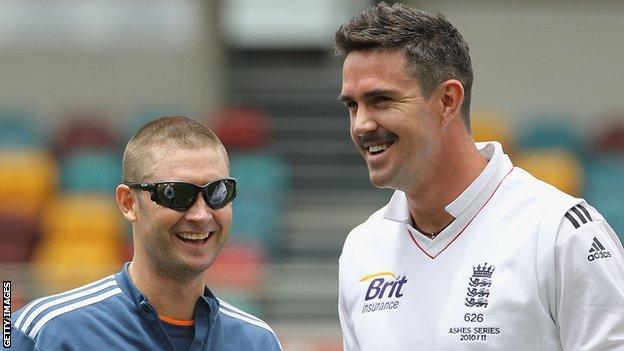 Michael Clarke (left) shares a joke with Kevin Pietersen