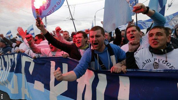 Zenit St Petersburg supporters at Ufa