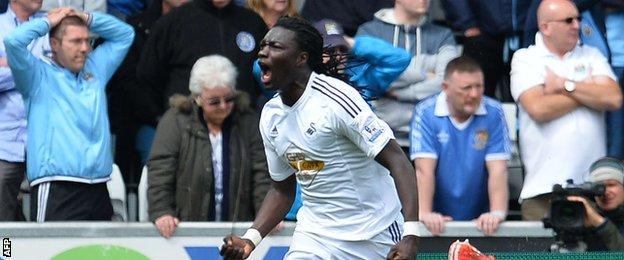 Bafetimbi Gomis' equaliser for Swansea was his fifth goal in five games