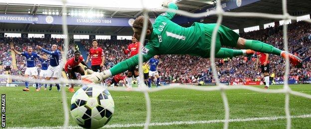 Esteban Cambiasso scores Leicester's third goal from the penalty spot in their 5-3 win over Man Utd in September