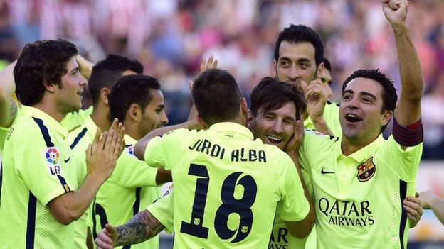 Barcelona celebrate after beating Atletico Madrid