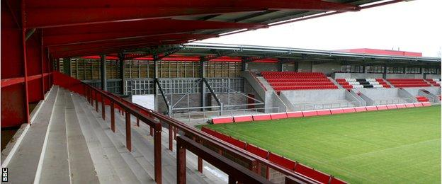 FC United's main stand at Broadhurst Park