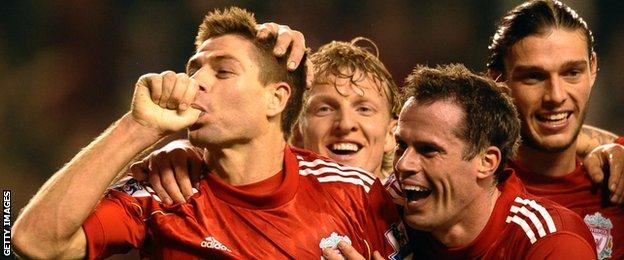 Liverpool captain Steven Gerrard celebrates scoring a hat-trick against Everton