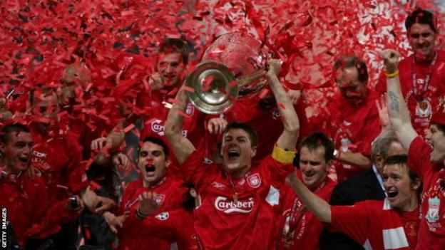 Steven Gerrard lifts the Champions League trophy after Liverpool's 2005 victory in Istanbul