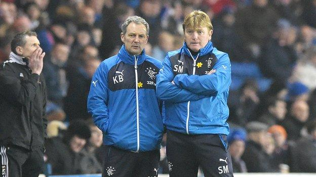 Rangers assistant manager Kenny Black and manager Stuart McCall