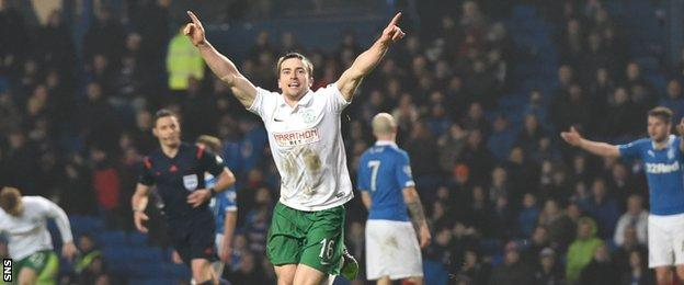 Lewis Stevenson celebrates scoring in Hibernian's 2-0 win at Ibrox in February