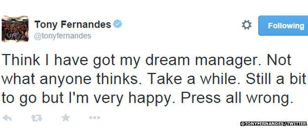 Tony Fernandes's Twitter profile