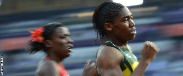 South African 800m runner Caster Semenya