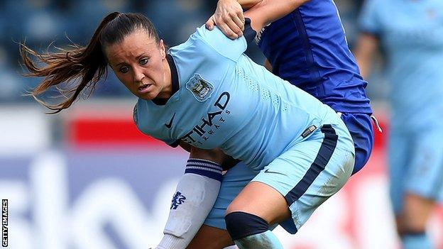 Natasha Harding in action for Manchester City Women