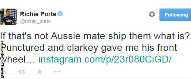 Richie Porte Twitter page