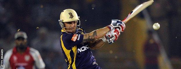 Brendon McCullum bats in the Indian Premier League
