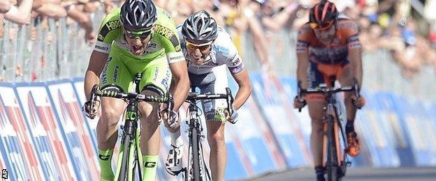 Italy's Nicola Boem winning the Giro's 10th stage on Tuesday