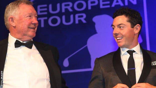 Former Manchester United manager Sir Alex Ferguson with Rory McIlroy at the awards ceremony