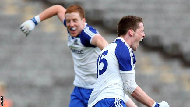 Kieran Duffy and Conor McManus celebrate after Monaghan's Ulster semi-final win over Cavan in 2013