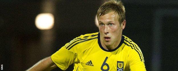 Scott Arfield in action for Scotland Under-21s