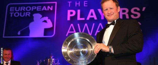 Jamie Donaldson with his shot of the year award