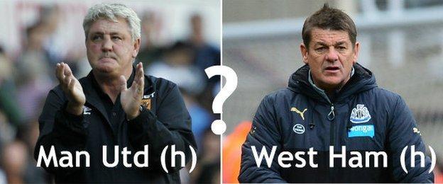 Hull manager Steve Bruce (left) and Newcastle manager John Carver (right)