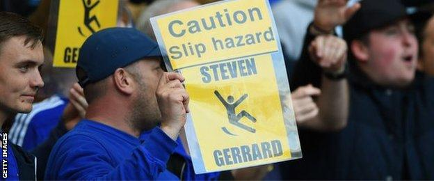 Chelsea fans hold up banners about Steven Gerrard