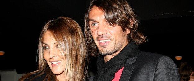 Paolo Maldini (right) and his wife Adriana