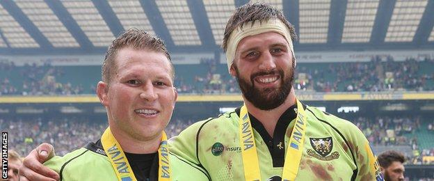 Dylan Hartley and Tom Wood