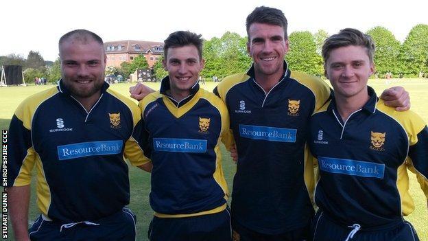Worcestershire's Shropshire quartet Joe Leach, Ed Barnard, Jack Shantry and Joe Clarke