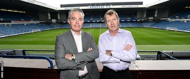 Paul Murray (left) will be replaced by Dave King as Rangers chairman on Friday