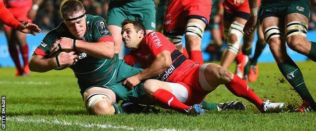 Brad Thorn scores a try for Leicester against Toulon in the European Champions Cup
