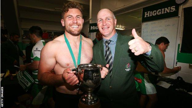 Jason O'Halloran celebrates winning the ITM Cup Championship with Manawatu Turbos