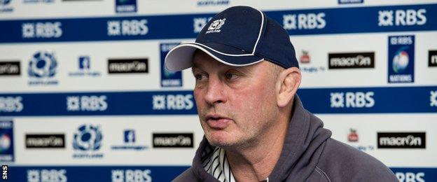 Scotland head coach Vern Cotter speaks to the media