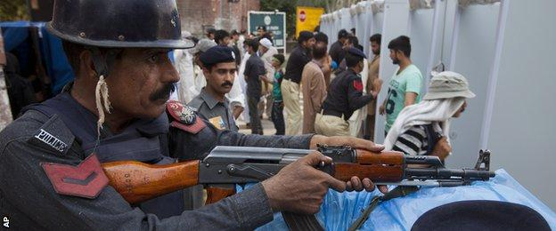 High security in Lahore