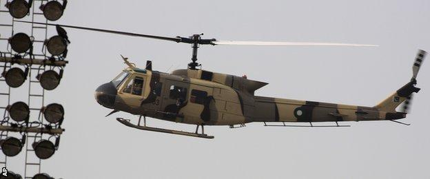 Helicopters at the Gaddafi Stadium