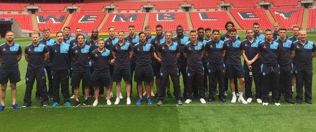 Wycombe squad at Wembley