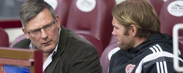 Craig Levein and Robbie Neilson in the Hearts dugout