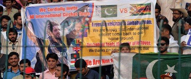 Pakistan supporters at the Twenty20 international with Zimbabwe