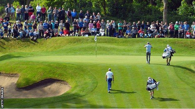 Jamie Donaldson approaches the second green before making a birdie in the third round at Wentworth