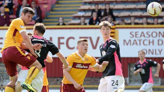 Motherwell striker John Sutton in action against Partick Thistle