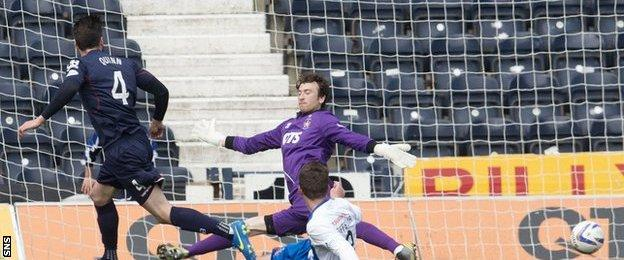 Rocco Quinn scores for Ross County against Kilmarnock
