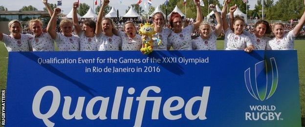 England celebrate qualifying Great Britain women's rugby sevens for Rio 2016