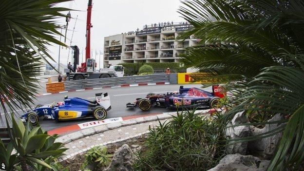 Sauber's Felipe Nasr leads Max Verstappen of the Toro Rosso team