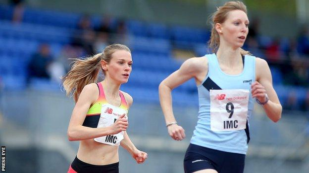 Katie Kirk (left) tracks eventual runner-up Katy Brown in the 800m event at Saturday's Irish Milers Club meeting